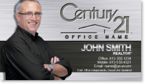 century-21-business-cards-with-metal-background-CEN23A